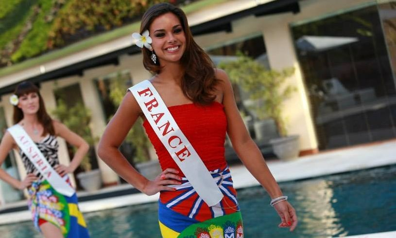 Miss World France 2013, Marine Lorpheline, takes part in Beach Fashion contest by sporting a Balinese sarong and blouse set in Indonesia. Miss France is one of the finalists of the beachwear round of Miss World 2013 pageant. (Photo: Miss World/Facebook)