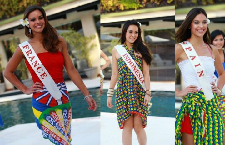 (L to R) Miss World France 2013, Marine Lorpheline; Miss World Indonesia 2013, Vania Larissa; and Miss World Spain 2013, Elena Ibarbia (Photo: Miss World/Facebook)