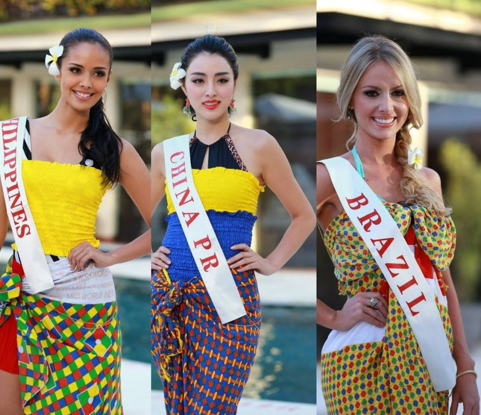 (L to R) Miss World Philippines 2013, Megan Young; Miss World China PR 2013, Wei Wei Yu; and Miss World Brazil 2013, Sancler Frantz Konzen (Photo: Miss World/Facebook)