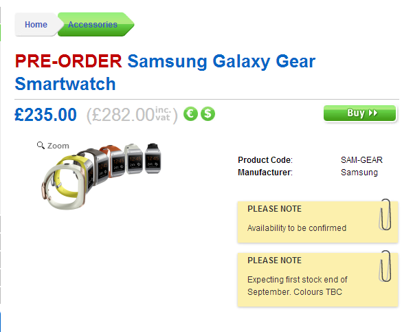 Samsung Galaxy Gear: Where to Pre-order in UK
