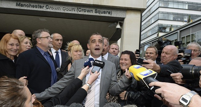 Michael Le Vell addresses the media outside Manchester Crown Court (Reuters)