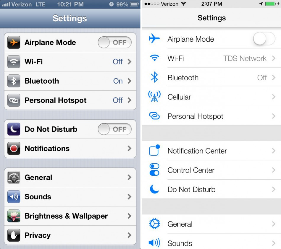 iOS 7 Settings