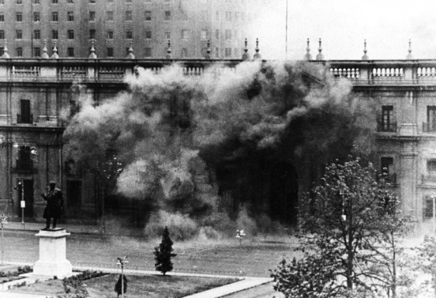 Chilean presidential palace La Moneda under fire during the coup d'etat led by Commander of the Army General Augusto Pinochet