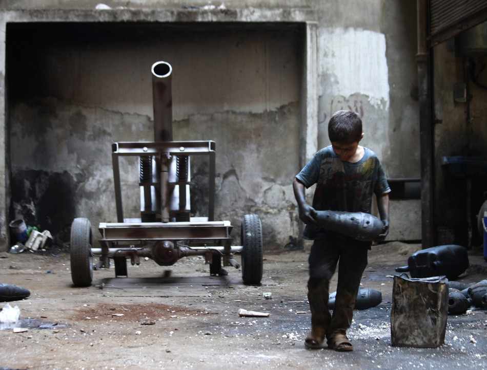 Free Syrian Army weapons factory Aleppo