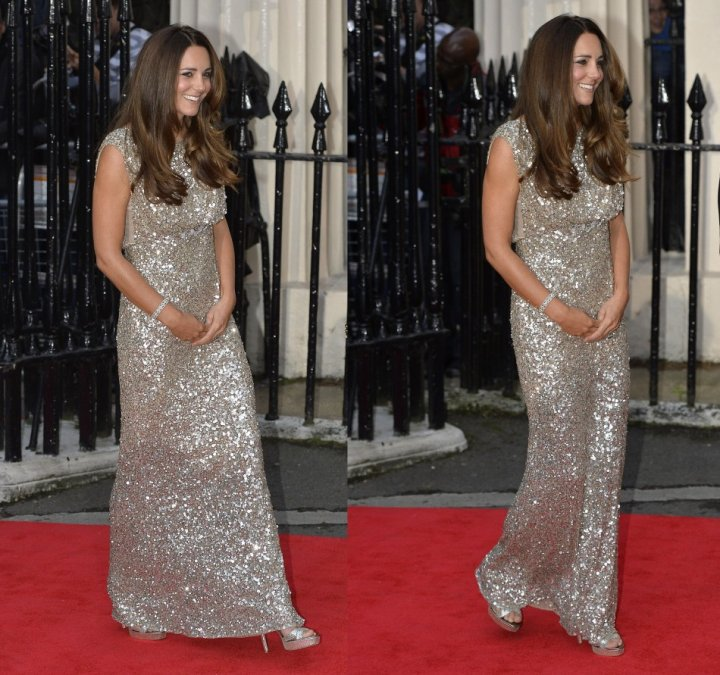 An all-glittering affair! Kate's dress featured sparkling silver sequins all over it. (Reuters)