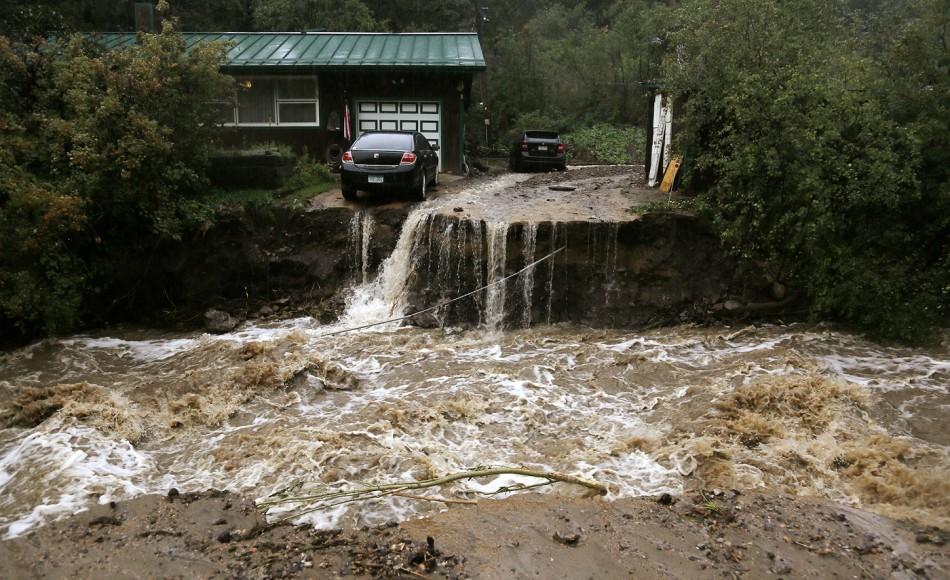Golden Colorado floods bridge