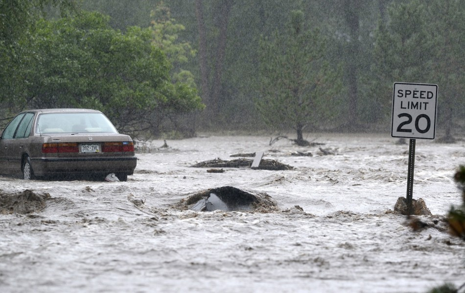 Water deluged roads in Colorado