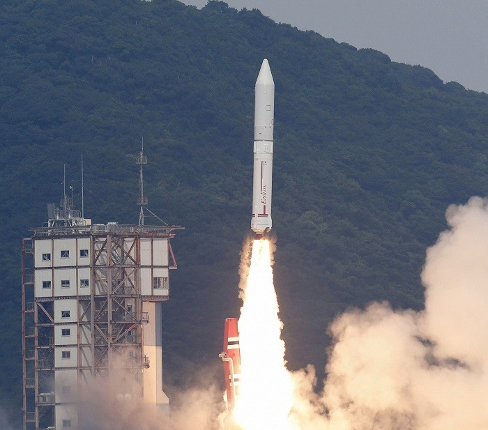An Epsilon rocket blasts off from the launching pad at the Uchinoura Space Center in Kimotsuki, Japan.