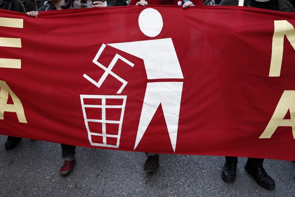 Banner held by ant-Nazi protesters at a rally in athens in February.