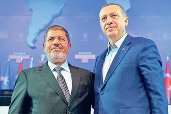 Recep Erdogan, right, with Mohamed Morsi