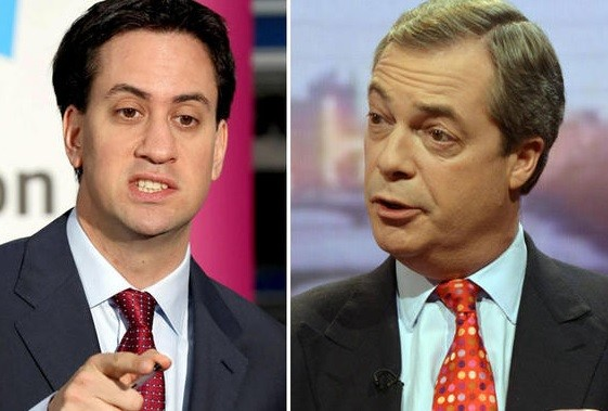 Ed Miliband, left, and Nigel Farage