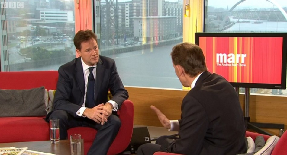 Andrew Marr, right, interviews Nick Clegg