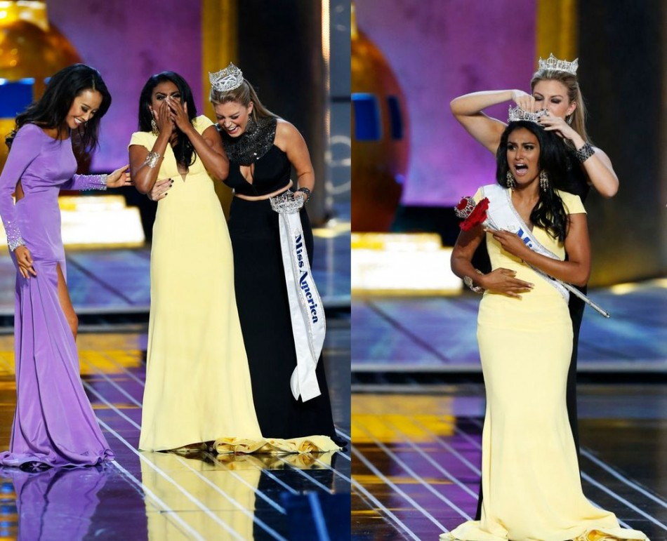 Nina Davuluri reacts with runner-up Miss California Crystal Lee (L) as she is chosen as winner of the 2014 Miss America Pageant. She is crowned by Mallory Hagan, Miss America 2013. (REUTERS/Lucas Jackson)