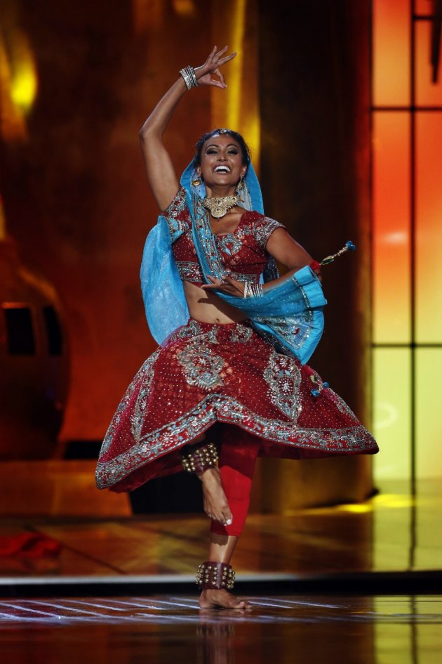 Nina Davuluri performs a traditional Indian dance during the 2014 Miss America Pageant. She is the first contestant of Indian origin to win the pageant. (REUTERS/Lucas Jackson)