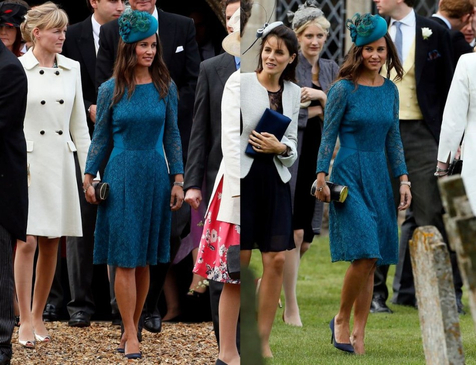 Pippa Middleton chats with guests at the wedding. (Reuters)