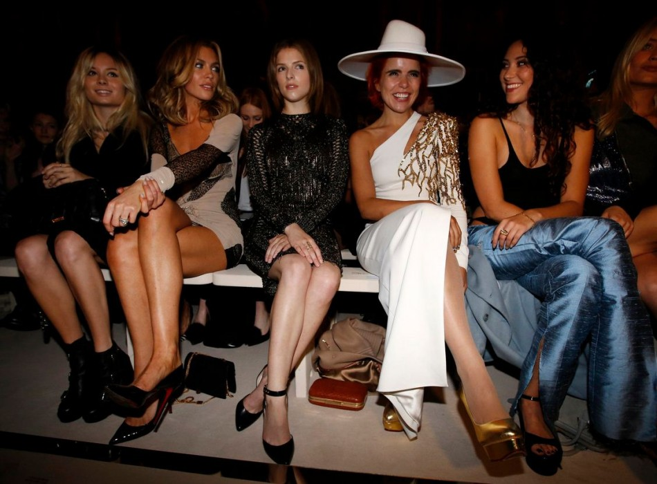 L to R: Model Abbey Clancy, actress Anna Kendrick, and singers Paloma Faith and Eliza Doolittle are seen at the Julien Macdonald Spring/Summer 2014 show. (REUTERS/Suzanne Plunkett)