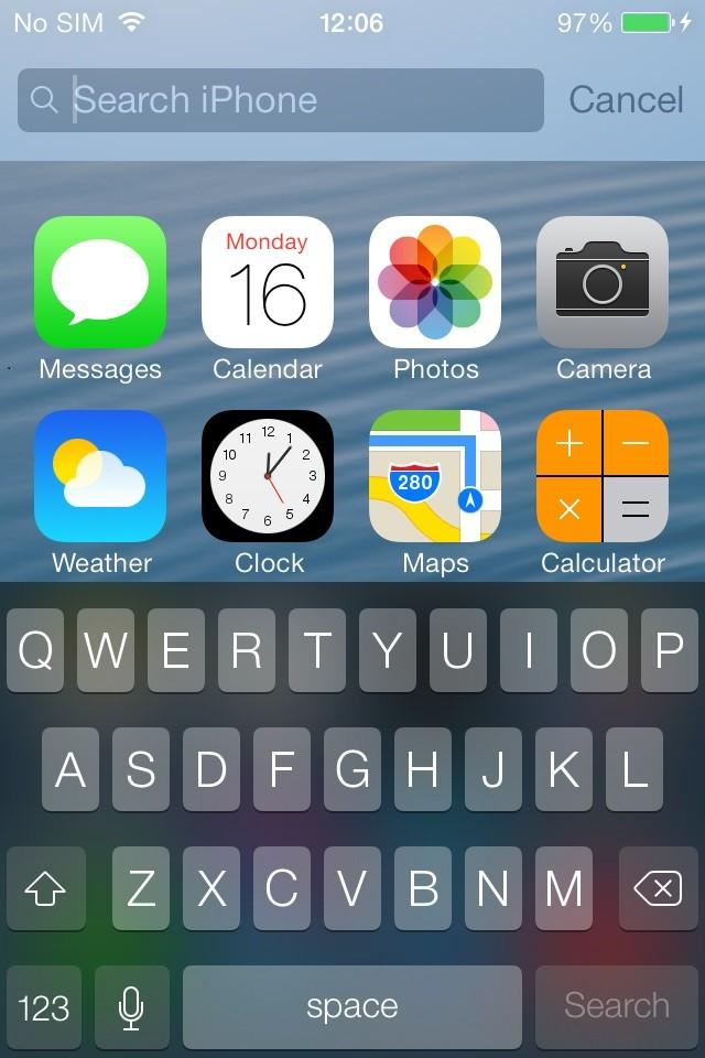 iOS 7 Spotlight Search