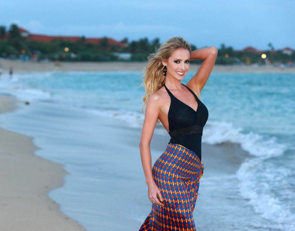 Miss World Brazil 2013, Sancler Frantz, poses on the beach during the final round of Beach Fashion contest of Miss World 2013 pageant in Bali, Indonesia. (Photo: Miss World Organisation)