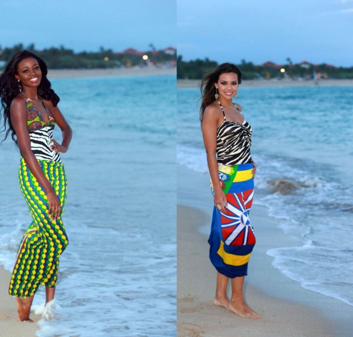Miss World Ghana 2013, Carranzar Naa Okailey Shooter (L) and Miss World France 2013, Marine Lorphelin (Photo: Miss World Organisation)