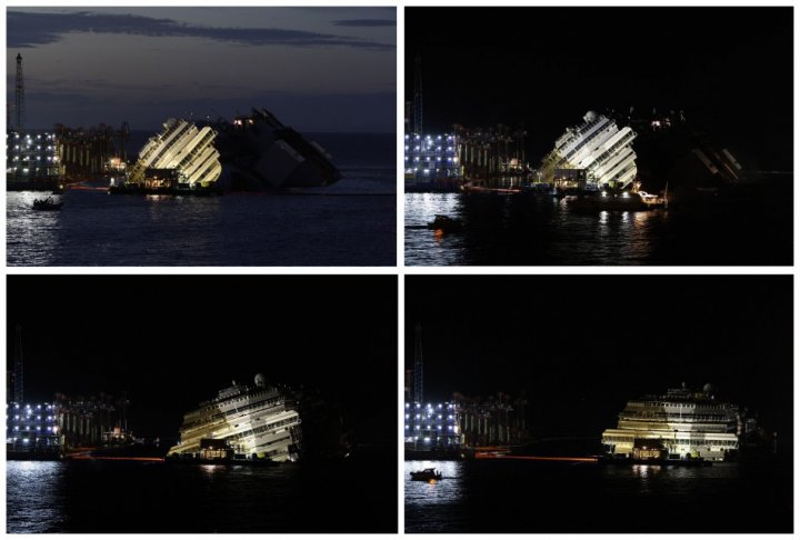 Costa Concordia set upright