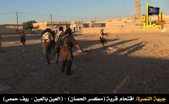 Picture of al-Nusra fighters storming the Maksar al-Husan village