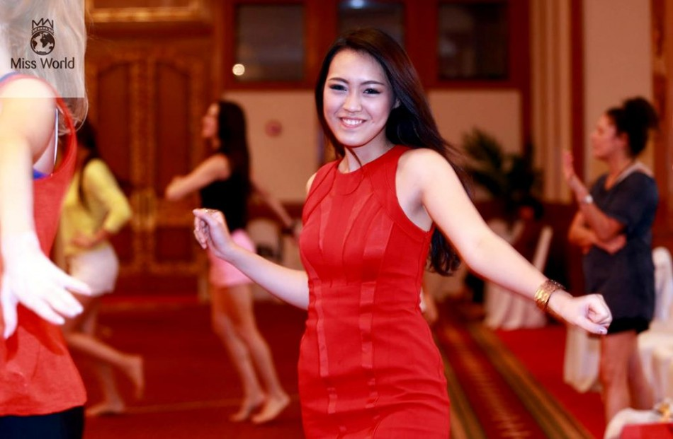 Miss World 2013 Indonesia, Vania Larissa, rehearses during final round of Talent Competition. She is one of the finalists of talent contest. (Miss World Organisation)