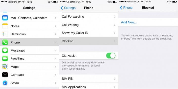 iOS 7 call blocking