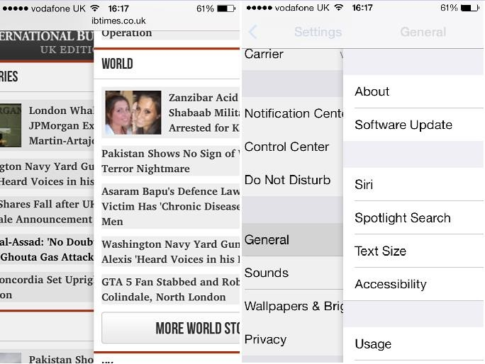 iOS 7 new gestures