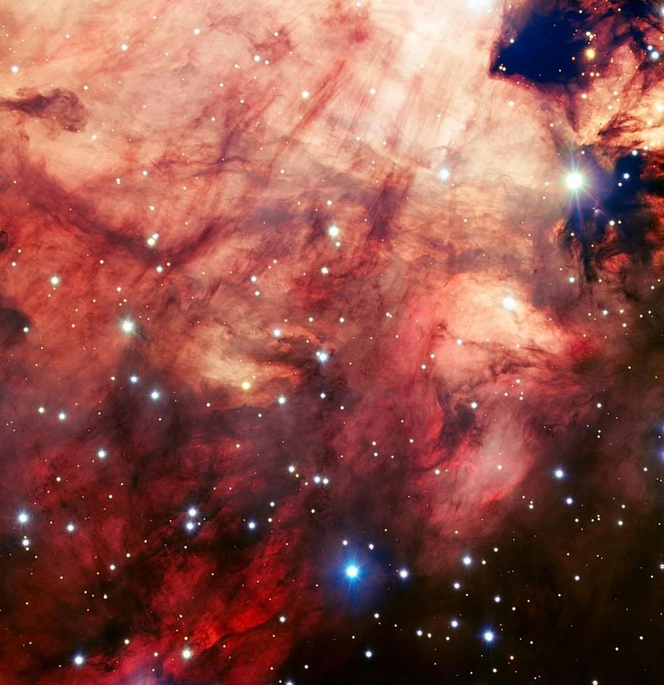 Smoky Pink Core of the Omega Nebula