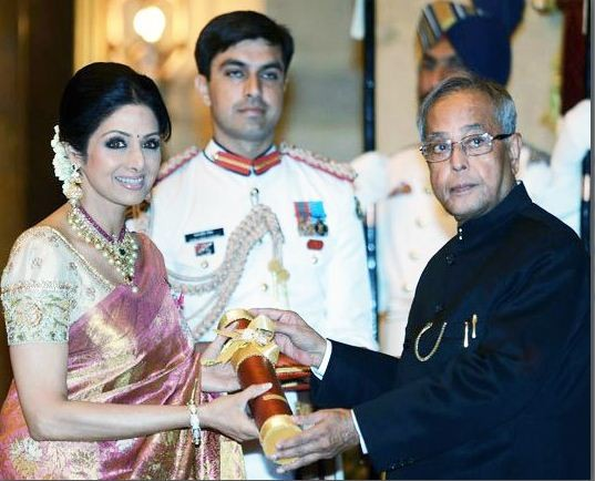 In 2013, the Government of India awarded her Padma Shri, the fourth highest civilian honour[Facebook/Sridevi]
