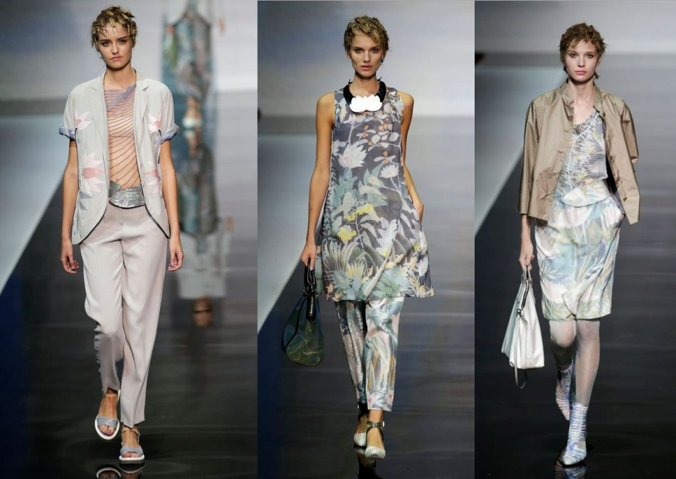 Models present creations from the Emporio Armani Spring/Summer 2014 collection during Milan Fashion Week September 20, 2013. (REUTERS/Max Rossi)