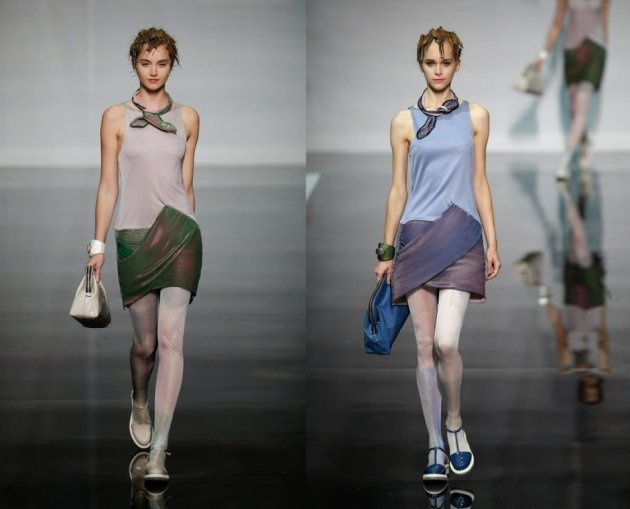Armani Spring/Summer 2014 collection features silky skirts and skinny tops worn over leggings. (REUTERS)