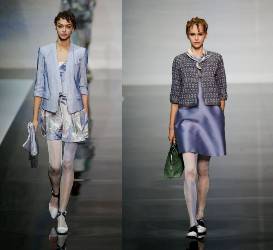 Armani Spring/Summer 2014 collection was themed on water lilies and featured flower prints and silky jackets. (REUTERS)