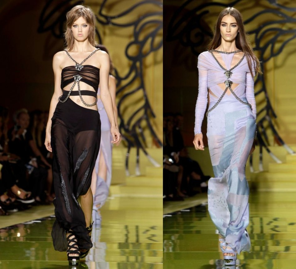 Models present creations from the Versace Spring/Summer 2014 collection during Milan Fashion Week September 20, 2013. (REUTERS/Alessandro Garofalo)