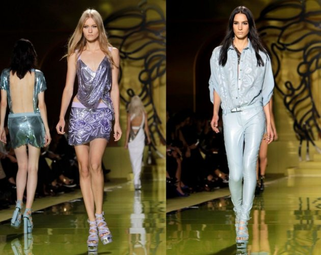 Versace creations also featured shimmering partywear ensembles. (REUTERS/Alessandro Garofalo)