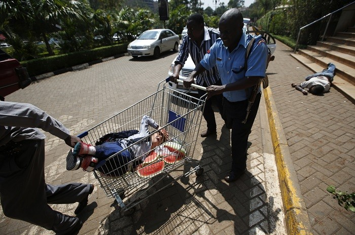 Injured person wheeled away from Westgate mall in shopping trolley