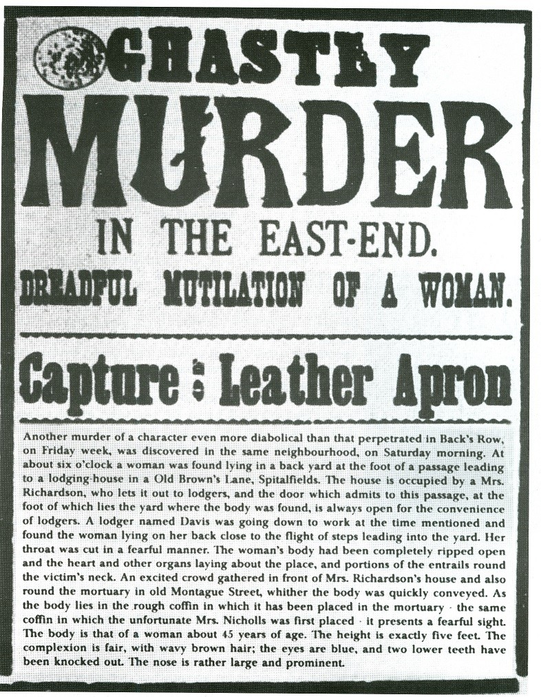 Newspaper front-page from during the Ripper's 'autumn of terror' in 1888.