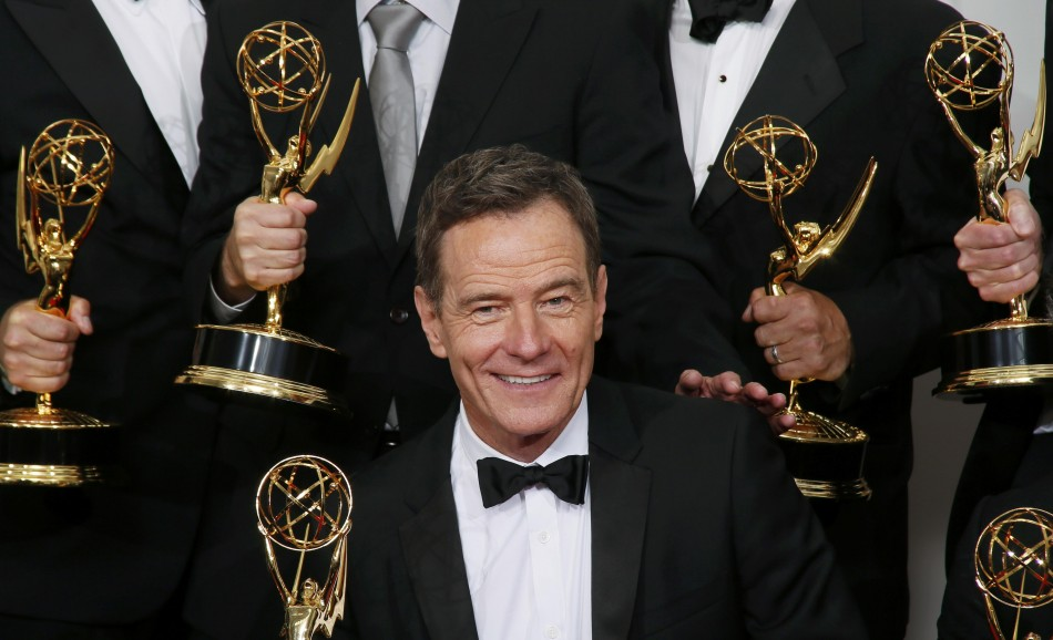 Actor Bryan Cranston from Breaking Bad poses with his award for Outstanding Drama Series award. He plays the lead character in the crime series. (Reuters)