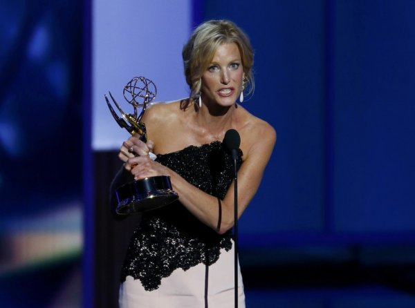 A tearful Anna Gunn accepts the award for Outstanding Supporting Actress In A Drama Series for her role in Breaking Bad. She plays the lead character's wife in the series. (Reuters)