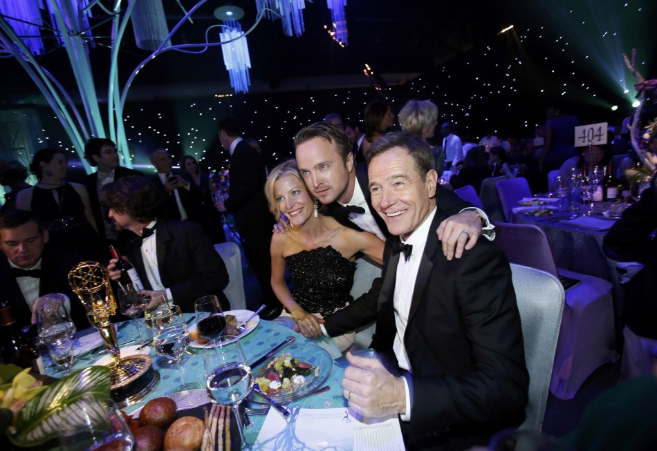 Gunn, Paul and Cranston celebrate the success of Breaking Bad after the Emmy Awards gala in Los Angeles. (Reuters)