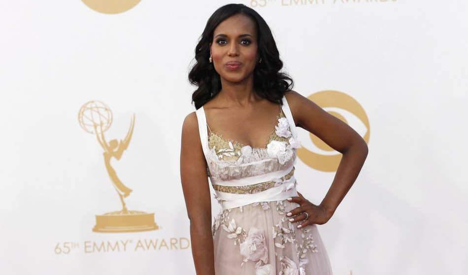 Actress Kerry Washington from ABC's series Scandal arrives at the 65th Primetime Emmy Awards in Los Angeles September 22, 2013. Washington wore a dress from from the Marchesa runway show. (Photo: REUTERS/Mario Anzuoni)