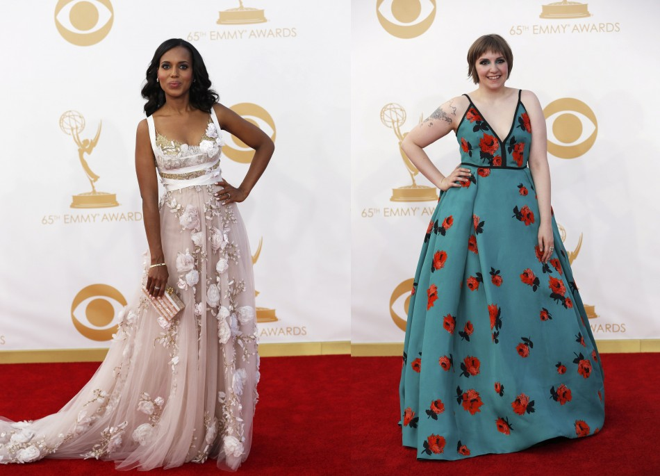 Scandal actress Kerry Washington (L) and Lena Dunham from HBO's series Girls opted for floral patterns. (Photo: Reuters)