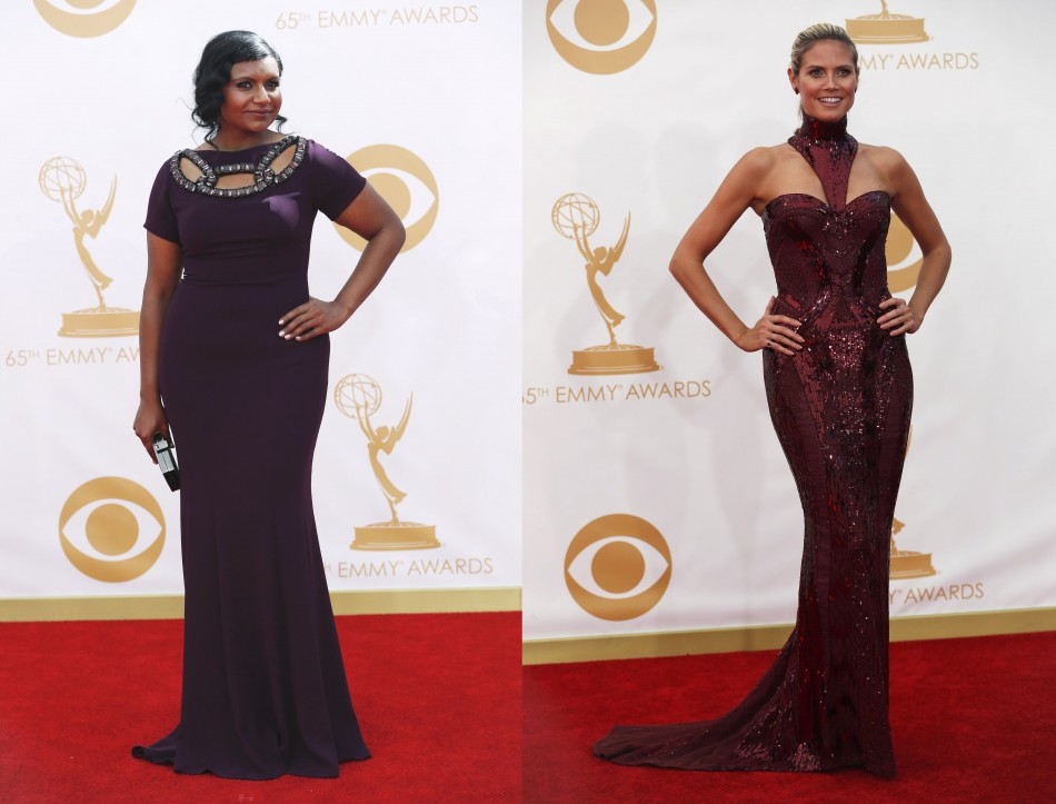 Actress Mindy Kaling (L) from the Fox show The Mindy Project and model Heidi Klum pose in mermaid gowns. (Photo: Reuters)