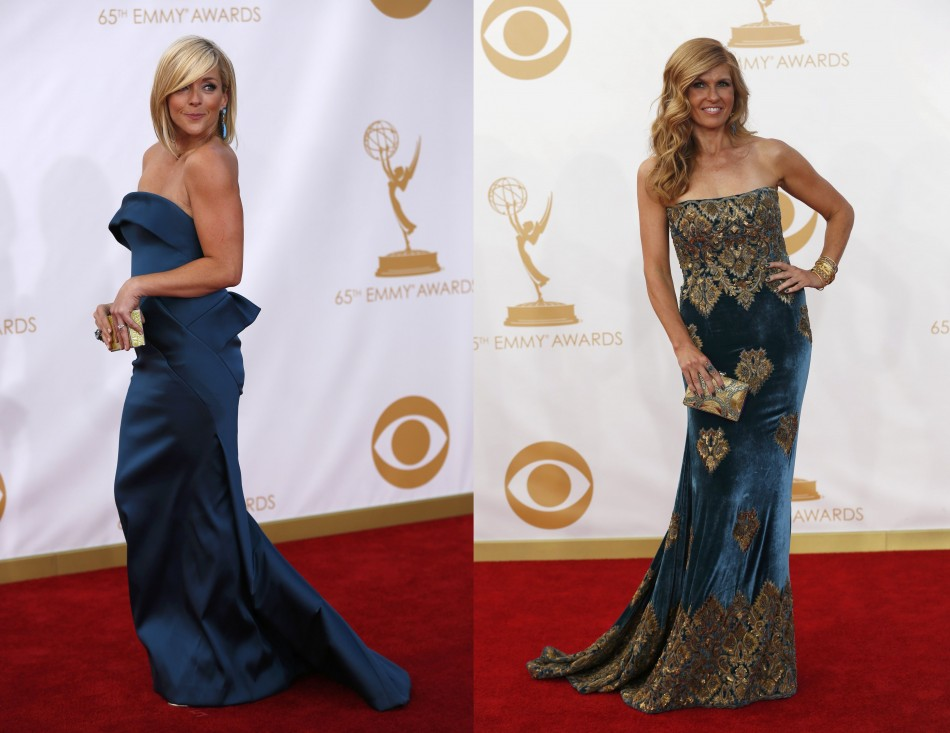 Actress Jane Krakowski (L), from the NBC sitcom 30 Rock, and Nashville series' actress Connie Britton dazzle in blue ensembles. (Photo: Reuters)