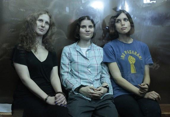 Pussy Riot's Maria Alyokhina (left), Yekaterina Samutsevich and Nadezhda Tolokonnikova