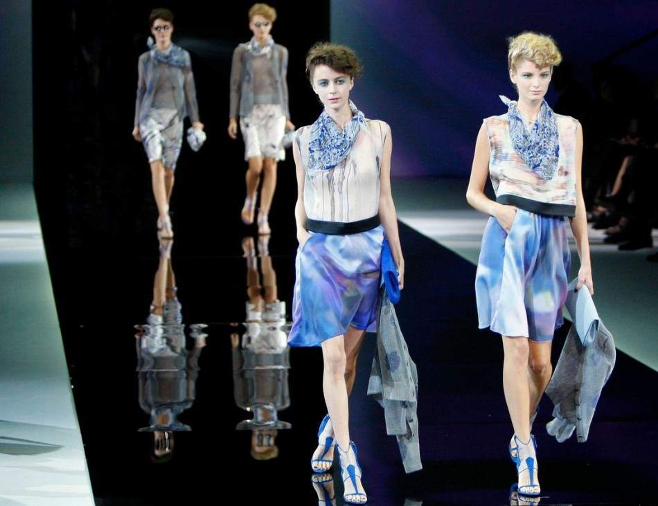 Models present creations from the Giorgio Armani Spring/Summer 2014 collection during Milan Fashion Week September 23, 2013. (Photo: REUTERS/Alessandro Garofalo)