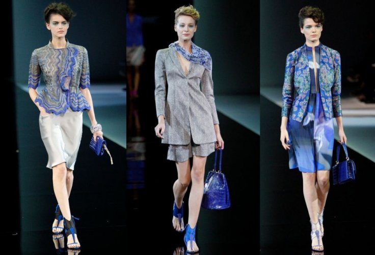 Armani's collection featured sharp blazers worn over shorts, dresses and skirts. (Photo: REUTERS/Alessandro Garofalo)