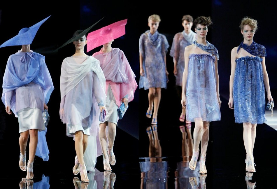 Armani also included hats in his spring/summer collection. (Photo: REUTERS/Alessandro Garofalo)