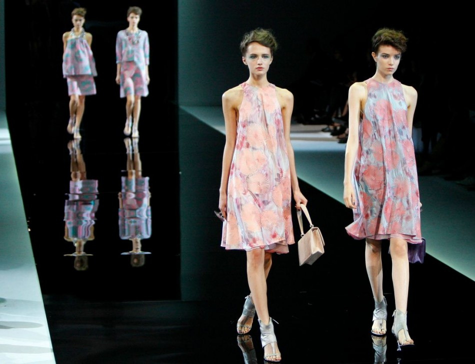 Translucent dresses in soft fabric and soft hues made Armani's spring/summer collection. (Photo: REUTERS/Alessandro Garofalo)