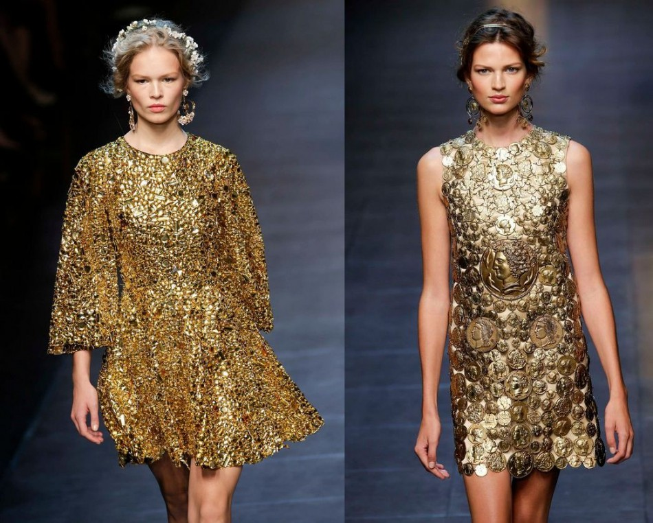 Metallic golden ruled the runway show of Dolce&Gabbana Spring/Summer 2014 collection during Milan Fashion Week. (Photo: REUTERS/Max Rossi)